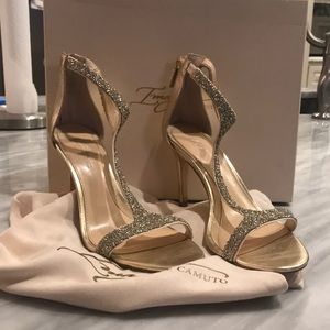 Vince Camuto / crystal gold heels - worn once